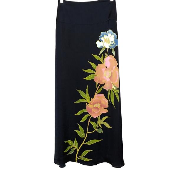 Banana Republic navy blue floral leaf maxi skirt 0